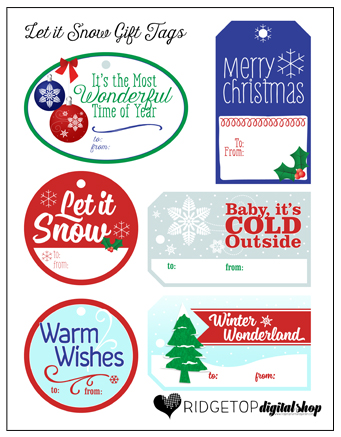 Ridgetop Farm and Garden | 12 Days of December | Let it Snow Gift Tags | Printable Freebie