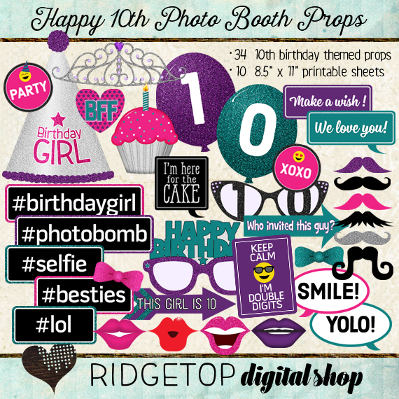 Ridgetop Digital Shop | Photo Booth Props | 10th Birthday | Girl