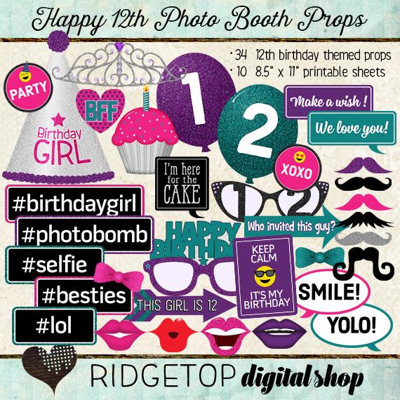 Ridgetop Digital Shop | Photo Booth Props | 12th Birthday| Girl
