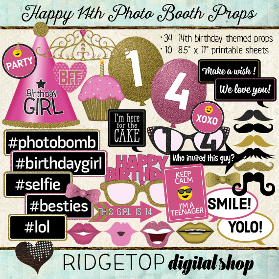 Ridgetop Digital Shop | Photo Booth Props | 14th Birthday | Girl | Pink | Gold