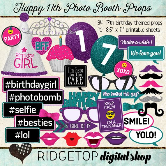 Ridgetop Digital Shop | Photo Booth Props |17th  Birthday | Girl | Pink | Purple | Teal