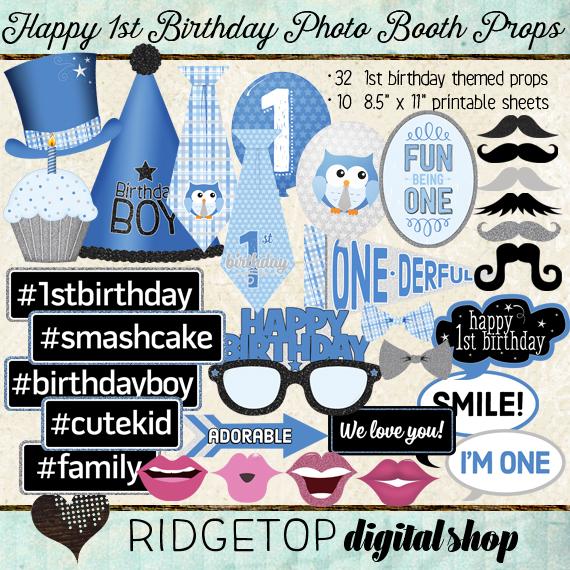 Ridgetop Digital Shop | Photo Booth Props | 1st Birthday | Boy | Silver | Blue