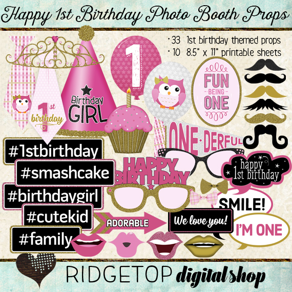 Ridgetop Digital Shop | Photo Booth Props | 1st Birthday | Girl | Pink | Gold