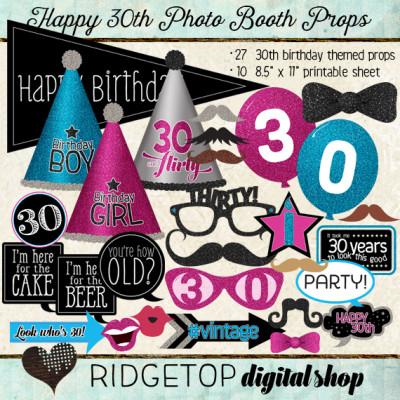 Ridgetop Digital Shop | Photo Booth Props | 30th Birthday