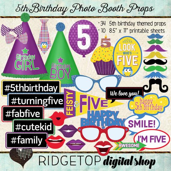 Ridgetop Digital Shop | Photo Booth Props | 5th Birthday