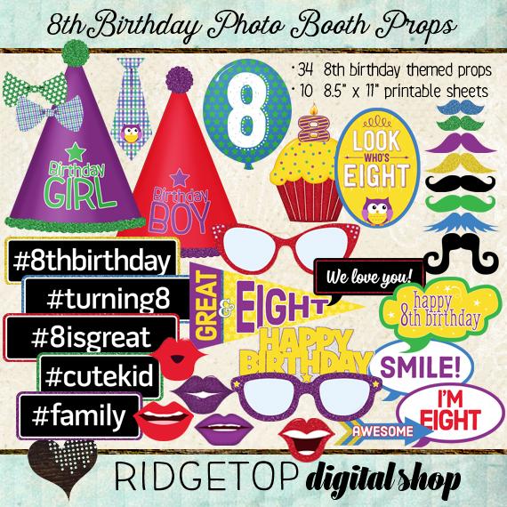 Ridgetop Digital Shop | Photo Booth Props | 8th Birthday