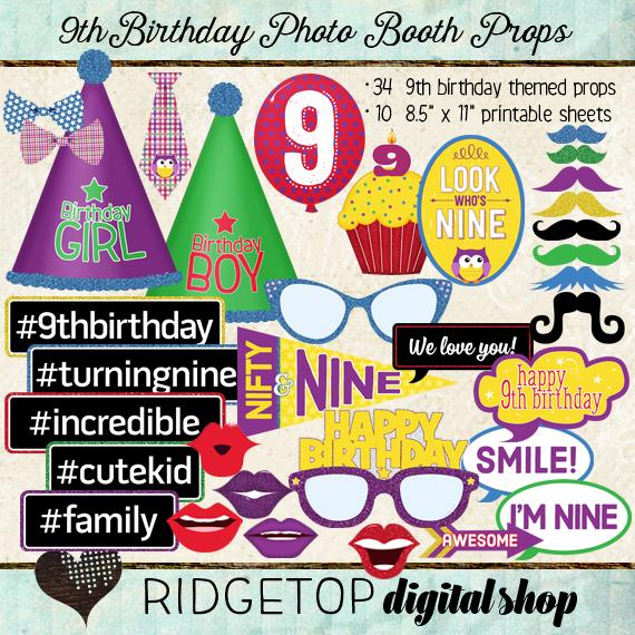 Ridgetop Digital Shop | Photo Booth Props | 9thBirthday