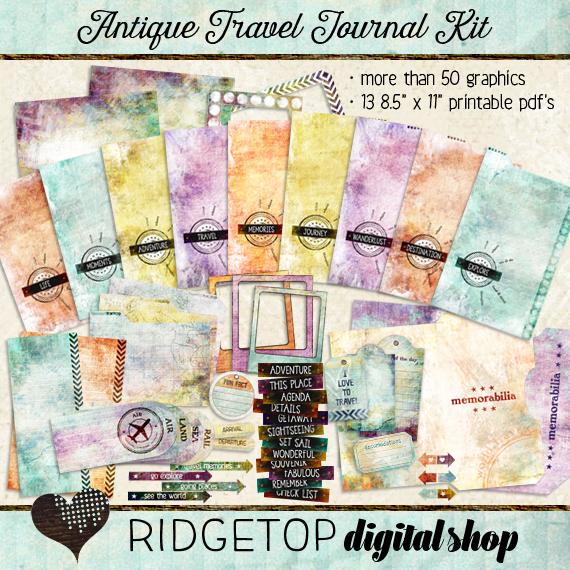 Ridgetop Digital Shop | Antique Travel Journal Kit