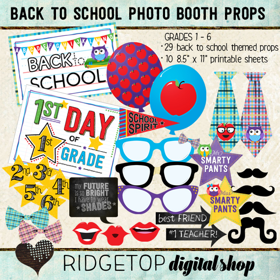Ridgetop Digital Shop | Photo Booth Props | Back to School | 1st |2nd | 3rd | 4th | 5th | 6th | Grade