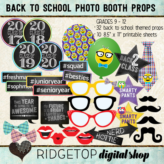 Ridgetop Digital Shop | Photo Booth Props | Back to School | 9th | 10th |11th | 12th | Grade | High School
