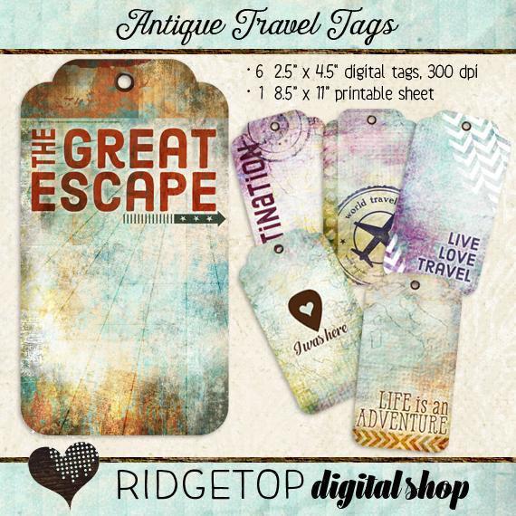 Ridgetop Digital Shop | Antique Travel Journal | Tags