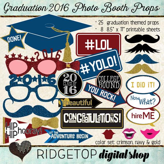 Ridgetop Digital Shop | Photo Booth Props | Class of 2016 | Graduation | Crimson | Navy | Gold