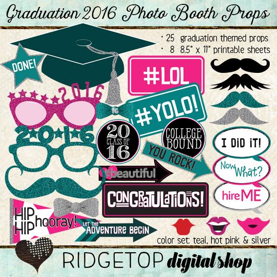 Ridgetop Digital Shop | Photo Booth Props | Class of 2016 | Graduation | Teal | Hot Pink
