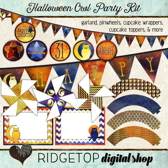 Ridgetop Digital Shop | Party Kit | Halloween | Owl | Garland | Pinwheels | Cupcake Wrappers