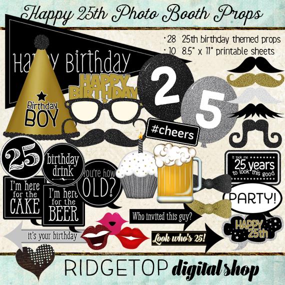 Ridgetop Digital Shop | Photo Booth Props | 25th Birthday