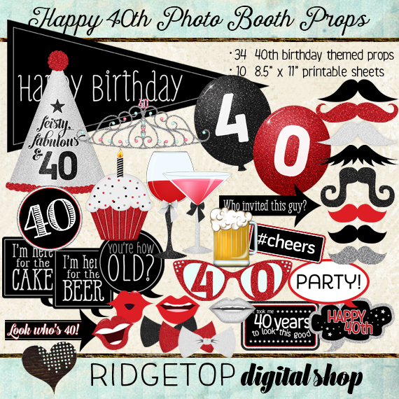 Ridgetop Digital Shop | Photo Booth Props | 30th Birthday | Girl | Tiara | Red | Black