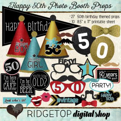 Ridgetop Digital Shop | Photo Booth Props | 50th Birthday