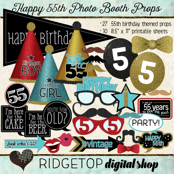 Ridgetop Digital Shop | Photo Booth Props | 55th Birthday