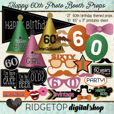 Ridgetop Digital Shop | Photo Booth Props | 60th Birthday