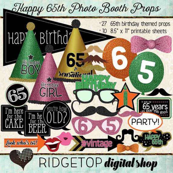 Ridgetop Digital Shop | Photo Booth Props | 65th Birthday
