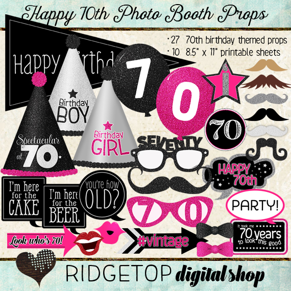 Ridgetop Digital Shop | Photo Booth Props | 70th Birthday | Pink | Black | Silver