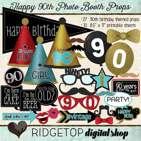 Ridgetop Digital Shop | Photo Booth Props | 90th Birthday