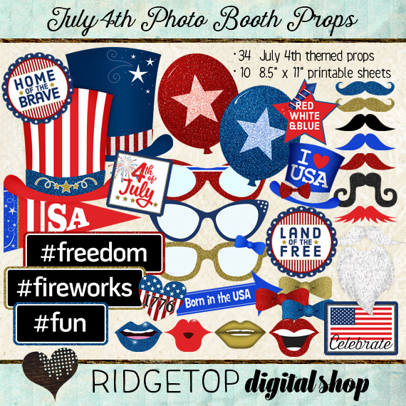 Ridgetop Digital Shop | Photo Booth Props | 4th of July