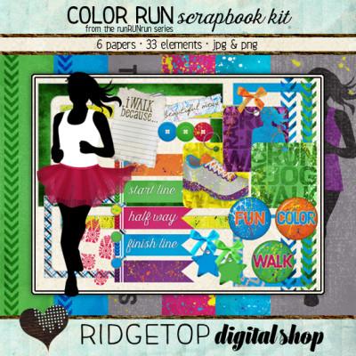 Ridgetop Digital Shop   Scrapbook Kit   Color Run   Jog   Walk  5k   Vibe