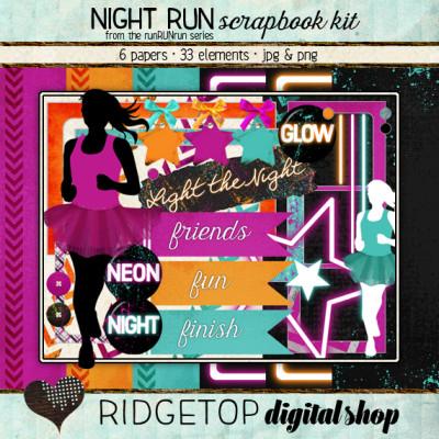 Ridgetop Digital Shop   Scrapbook Kit   Night Run   Jog   Walk  5k   Neon   Glow  Electric