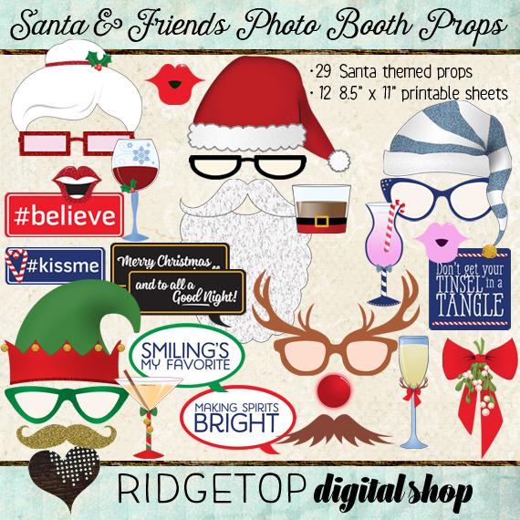 Ridgetop Digital Shop | Photo Booth Props | Christmas | Santa | Elf | Rudolph | Mrs Claus | Reindeer