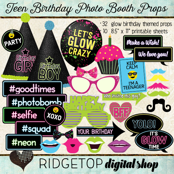 Ridgetop Digital Shop | Photo Booth Props | Teen Birthday | Glow | Blacklight| Neon