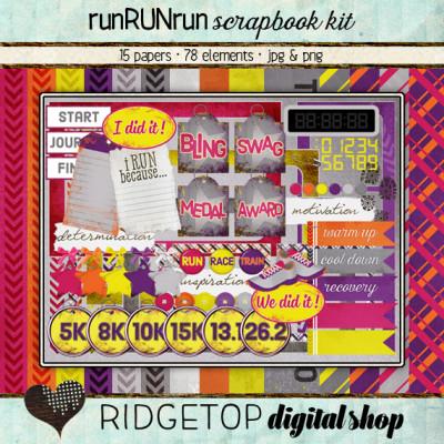Ridgetop Digital Shop   Scrapbook Kit   runRUNrun   Run   Jog   Walk  5k   10K   Marathon