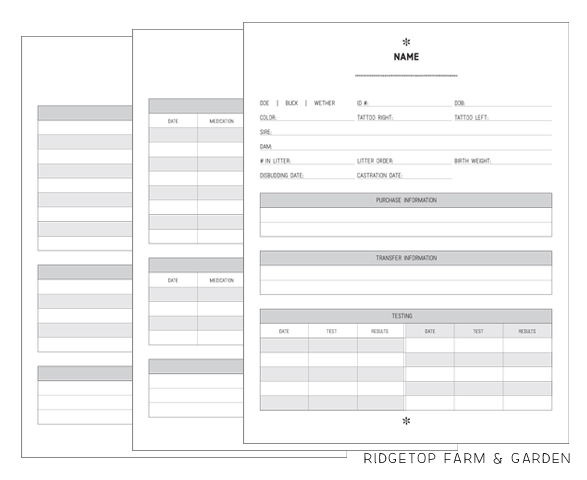 Ridgetop Farm and Garden | Homestead Record Keeping | Goat Records | Free Printable