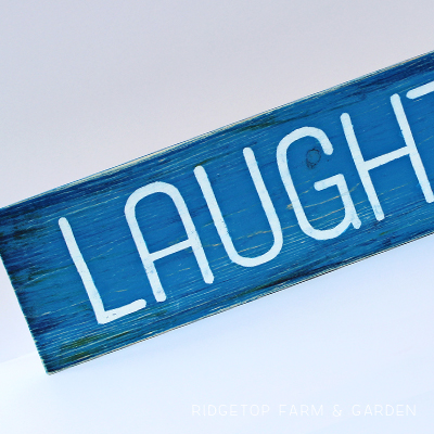 DIY Hand Painted Laughter Wood Sign